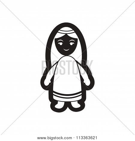 flat icon in black and white Virgin Mary