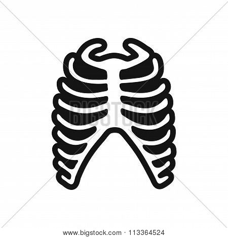 stylish black and white icon human rib