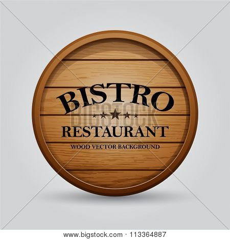 Wooden barrel signboards for cafe, restaurant, bistro, brasserie, beer, wine or whiskey. Vector illustration