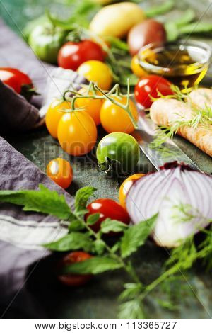 Vegetables on wood. Bio Healthy food, herbs and spices. Organic vegetables on wood. Cooking, Healthy Eating or Vegetarian concept