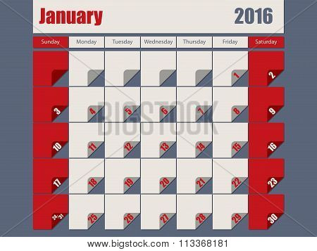 Gray Red Colored 2016 January Calendar