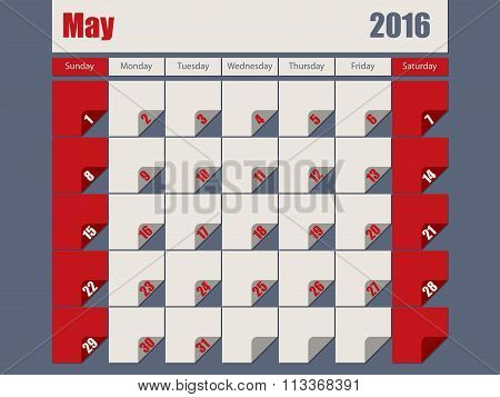 Gray Red Colored 2016 May Calendar