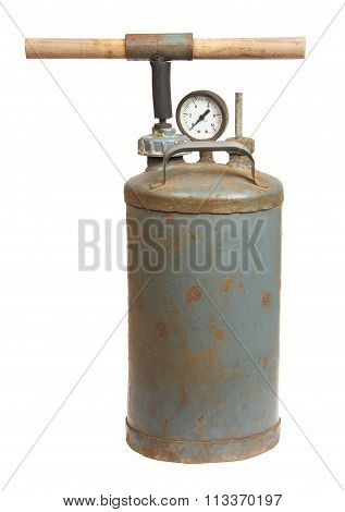 Old Compressor Isolated On A White Background