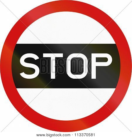 Regulatory Road Sign In Zimbabwe - Stop Sign Used For School Crossing Patrols