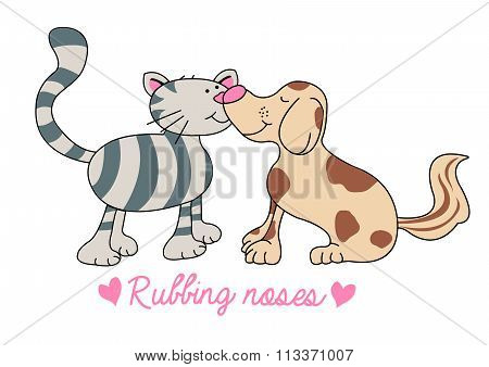 Cat And Dog Rubbing Noses Illustration