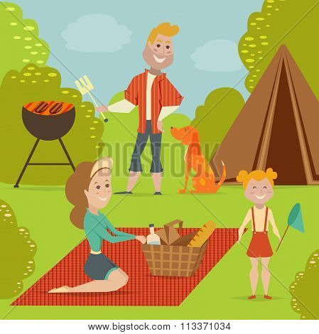 Family picnic. Bbq party concept. Cartoon vector illustration