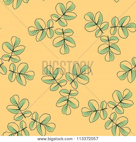 Seamless Pattern Made From Rose Leaves.