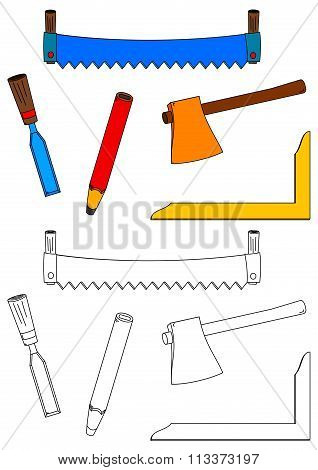 Saw, Ax, Chisel, Square And Pencil As A Coloring Book For Kids - Illustration
