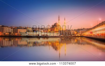 The beauty panorama of Istanbul at a dramatic sunset