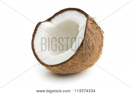 the halved coconut on white background