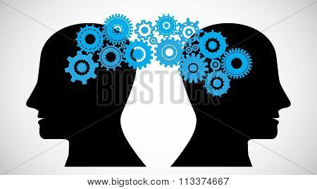 Concept Of Brain Storming, Knowledge Sharing Between To People Head, This Was Shown Through Cogwheel