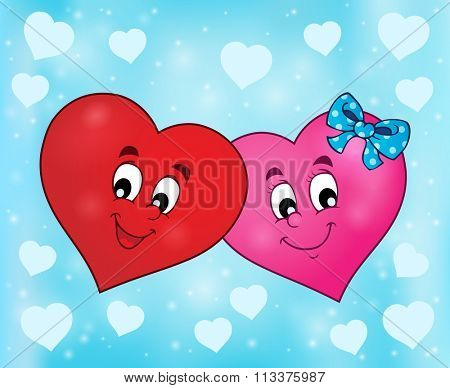 Two overlapping stylized hearts theme 2 - eps10 vector illustration.