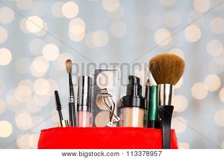 close up of cosmetic bag with makeup stuff