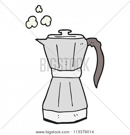 freehand drawn cartoon stovetop espresso maker