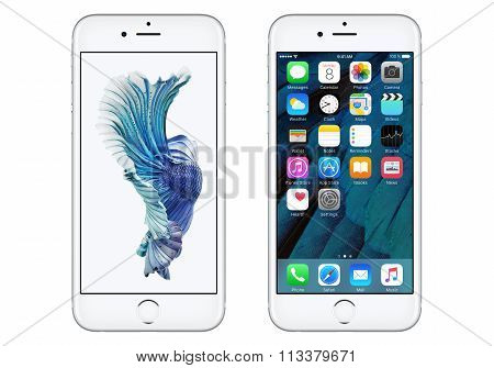 White Apple Iphone 6S Front View With Ios 9 And Dynamic homescreen