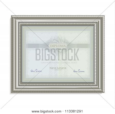 Diploma Certificate Frame Image Card Paper 3D Natural Horizontal Vector