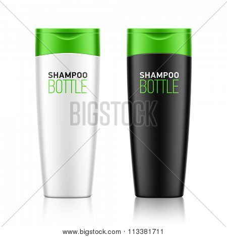 Shampoo / cosmetic bottle template for your design. Vector.