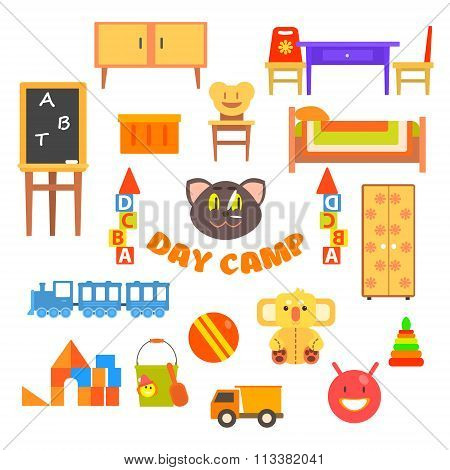 Kindergarten Preschool Set. Vector Illustration.