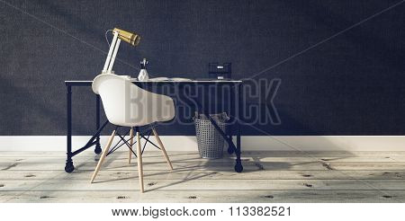Sparse Modern Office Interior - Minimalist Chair and Desk with Lamp and Supplies in Contemporary Office with Wood Floors and Gray Walls. 3d Rendering.