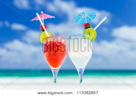 Fresh Margarita Cocktails On Table Against Tropical Turquoise Sea In The Caribbean