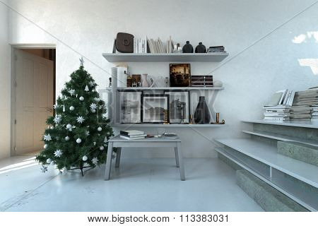 Festive decorated Christmas tree in a modern white living room interior with shelving and table with books. 3d Rendering.