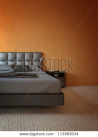 Home Interior with Copy Space - Modern Bedroom with Orange Walls with Contemporary Bed, Gray Linens and Side Table with Lamp. 3d Rendering.