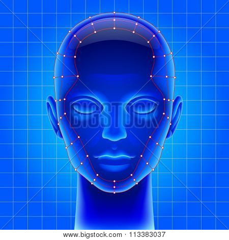 Three dimensional futuristic artificial head with red mesh in blue light as metaphor for high technology . Contain the Clipping Path