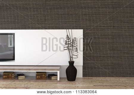 Modern white wall inset in a living room interior with a mounted TV set, decorative vase arrangement and shelf with books on a wooden floor against a black wall. 3d Rendering.