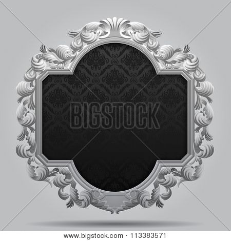 Vintage carved classic frame in black and white colors. Contain the Clipping Path