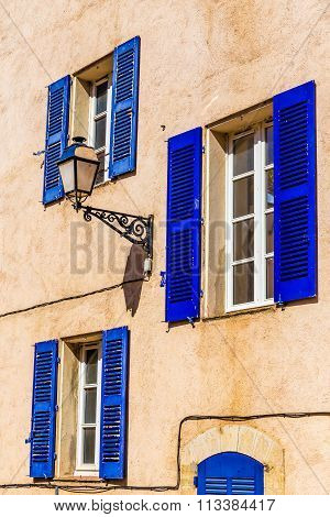 Ocher Wall,lamp And Blue Window-provemnce,france