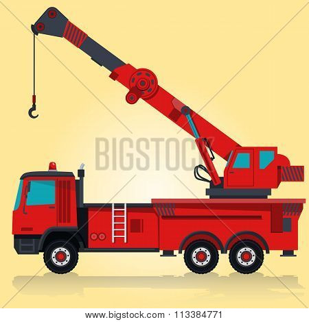 Big red crane with hook and arm.