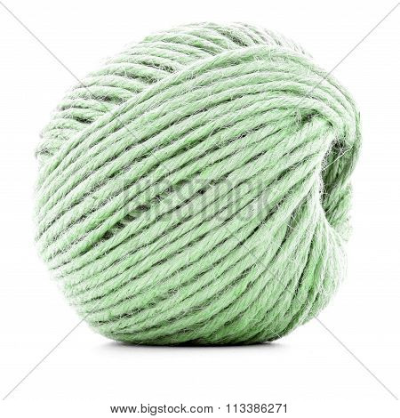 Green Traditional Clew, Crochet Thread Roll Isolated On White Background