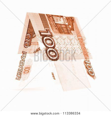 Orange Hundred Rubles Folded In Half, Russian Roubles Isolated White