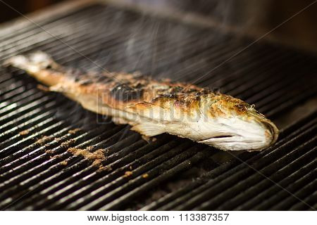Burned Fish On Grill