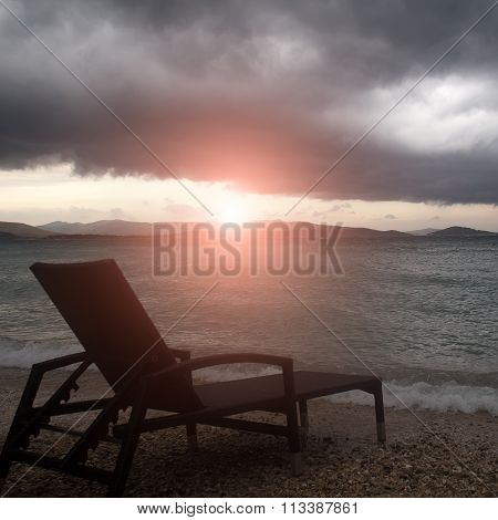 Chaise Lounge At Seashore