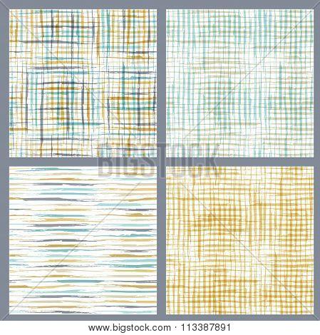 Set Of Seamless Patterns Of Brush Flourishes.