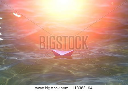 One Paper Boat In Sea