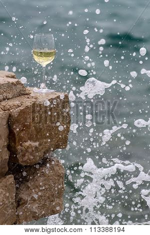 Wine Glass In Splashes