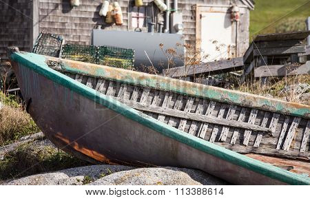 abandon wooden boat