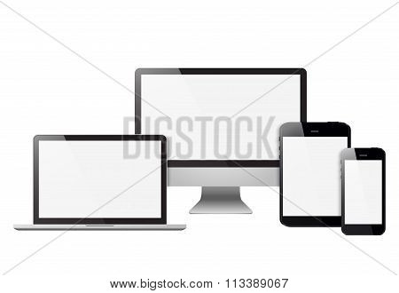 Set Realistic Monitors Laptop Tablet And Phone Vector Illustration