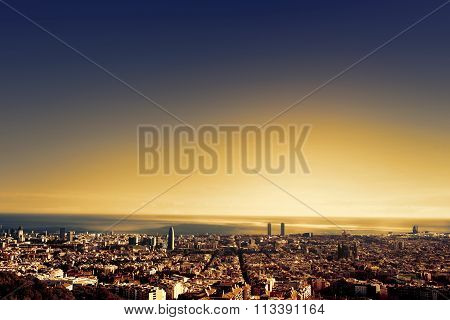 ..barcelona - A Bird View Over City. Catalonia, Spain.
