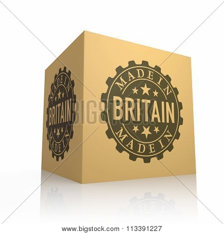 3D Render Of Cardboard Box With Made In Britain