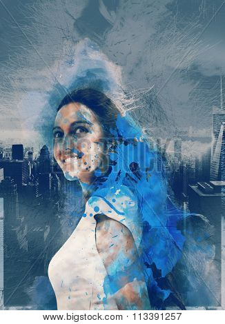 Waist Up Portrait of Smiling Young Woman Looking Optimistic in Graphic Image with City Skyline and Blue Paint Splatters