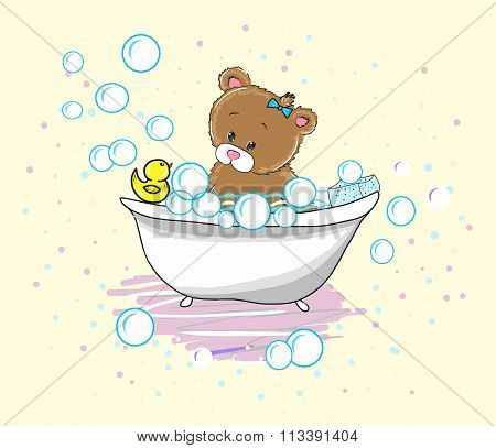 Vector Cute baby bear swims in the bathtub with foam and duck. Shampoo bubbles.