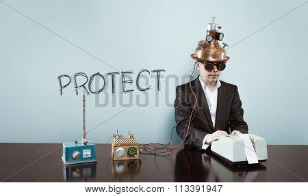 Protect concept with vintage businessman and calculator