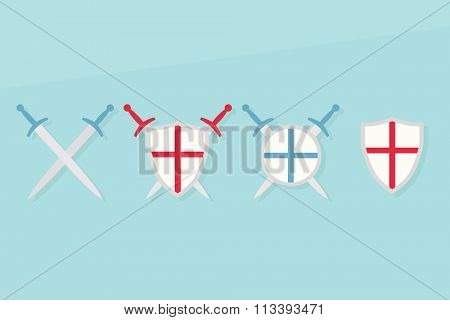 Icons with shields and swords