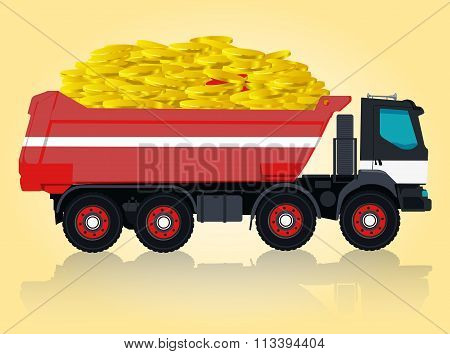Red and white big truck takes golden coins.