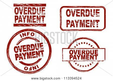 Set of stylized ink stamps showing the term overdue payment