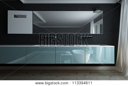 Stylish bathtub in a luxury bathroom reflected in a modern vanity unit and mirror mounted on a black wall. 3d rendering