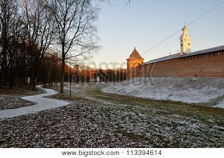 The Kremlin Stronghold In Veliky Novgorod, Russia, In Winter Sunny Evening
